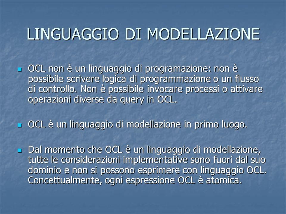LINGUAGGIO DI MODELLAZIONE