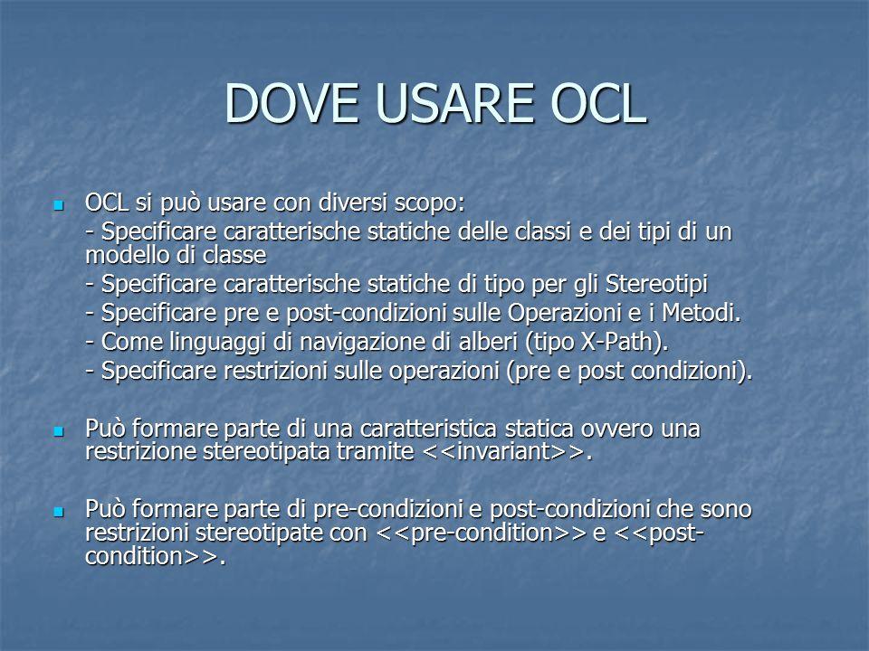 DOVE USARE OCL OCL si può usare con diversi scopo:
