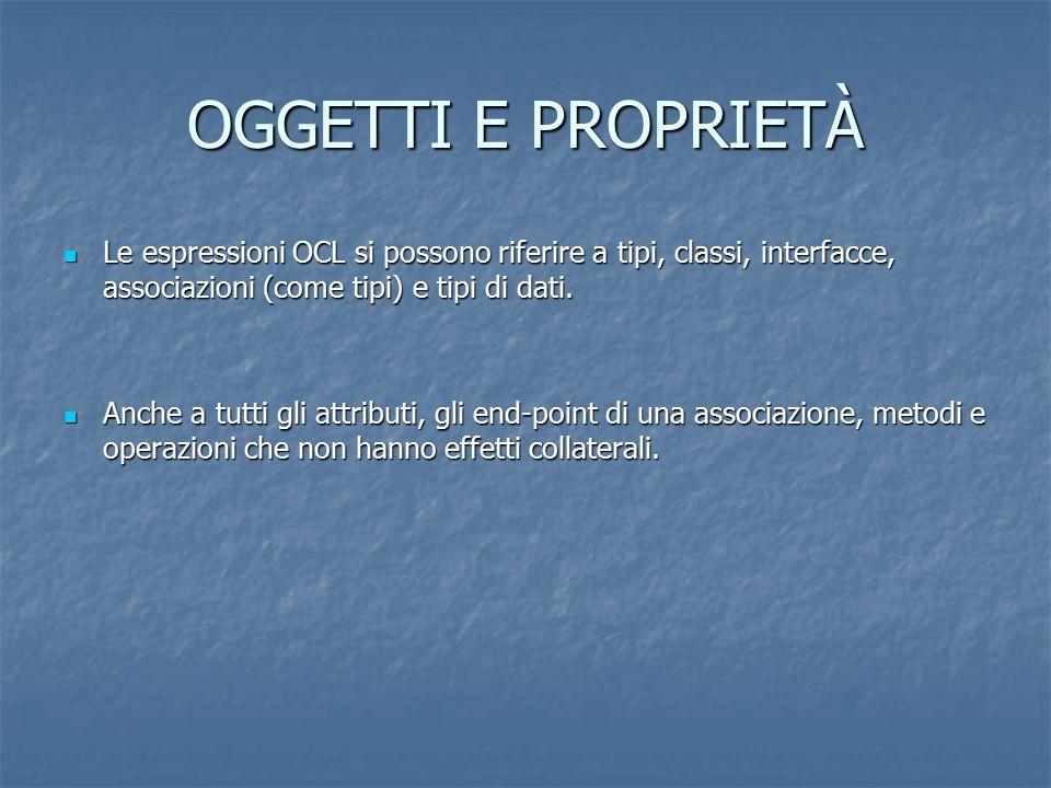OGGETTI E PROPRIETÀ Le espressioni OCL si possono riferire a tipi, classi, interfacce, associazioni (come tipi) e tipi di dati.