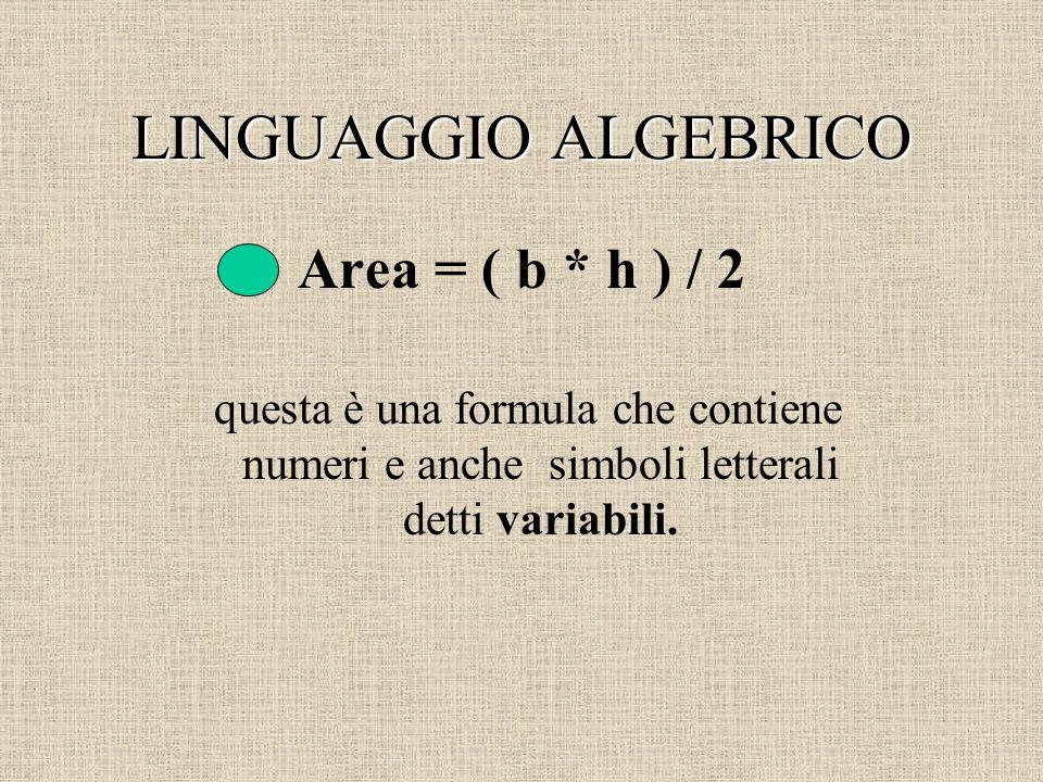 LINGUAGGIO ALGEBRICO Area = ( b * h ) / 2
