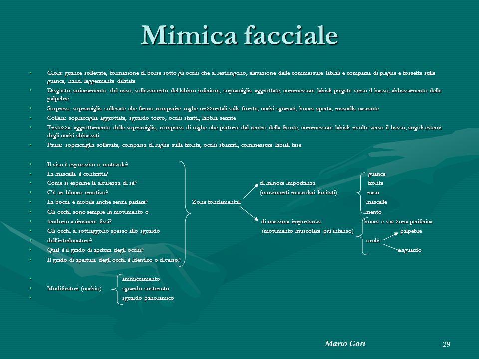 Mimica facciale Mario Gori