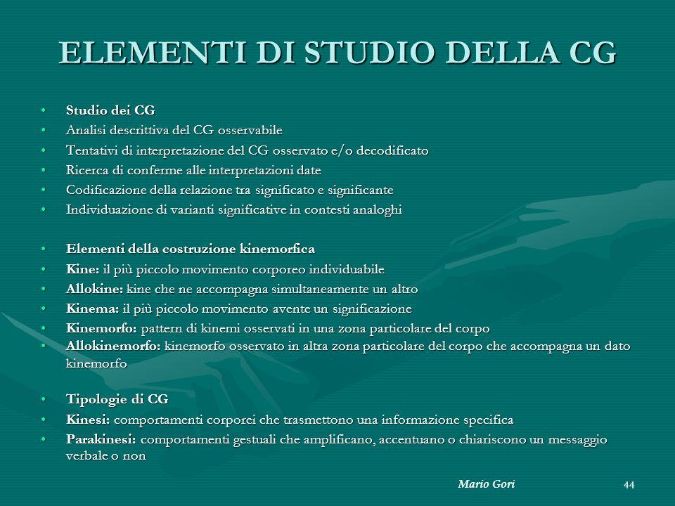 ELEMENTI DI STUDIO DELLA CG