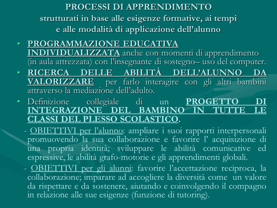 PROCESSI DI APPRENDIMENTO strutturati in base alle esigenze formative, ai tempi e alle modalità di applicazione dell'alunno