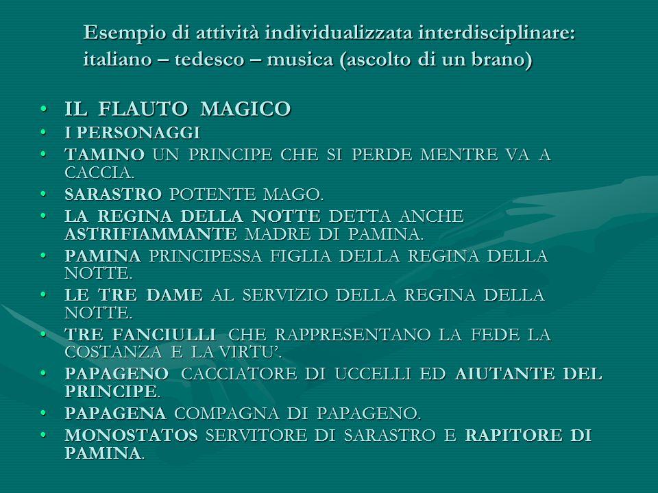 Esempio di attività individualizzata interdisciplinare: italiano – tedesco – musica (ascolto di un brano)