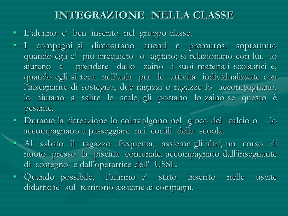 INTEGRAZIONE NELLA CLASSE