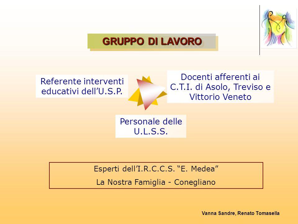 GRUPPO DI LAVORO Docenti afferenti ai C.T.I. di Asolo, Treviso e Vittorio Veneto. Referente interventi educativi dell'U.S.P.