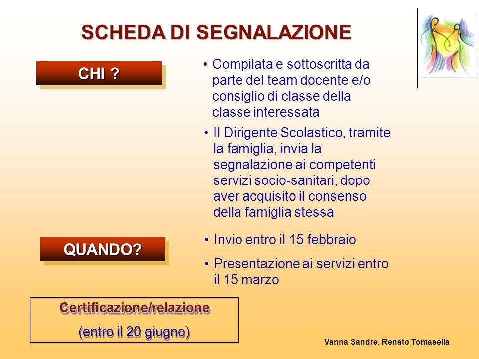 SCHEDA DI SEGNALAZIONE Certificazione/relazione