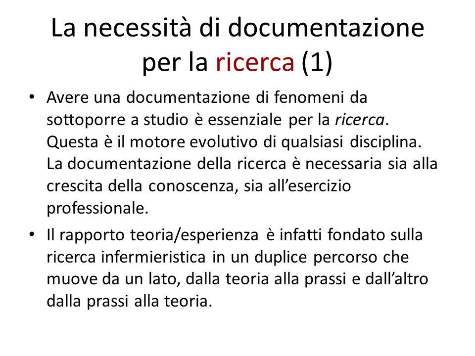 La necessità di documentazione per la ricerca (1)