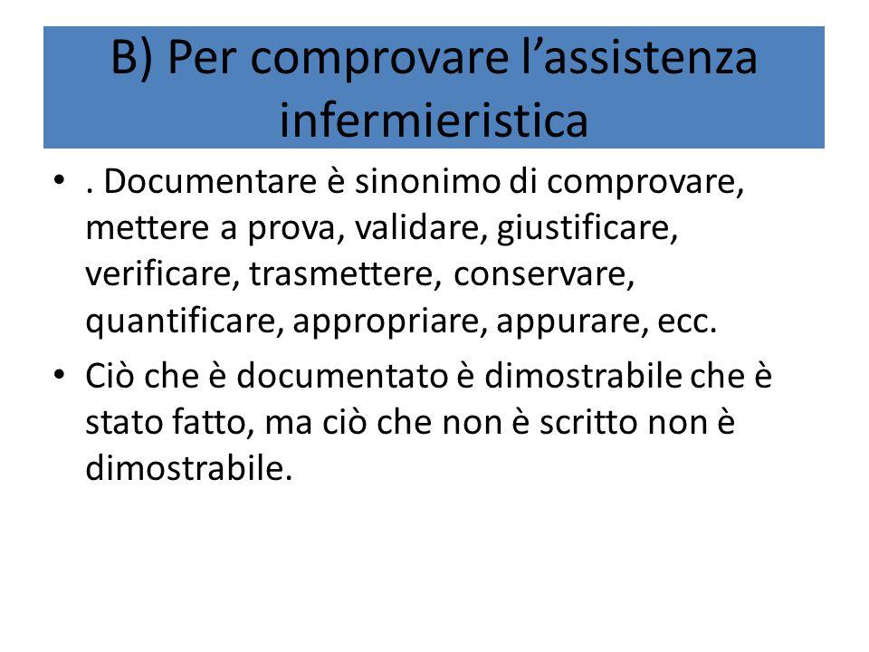 B) Per comprovare l'assistenza infermieristica