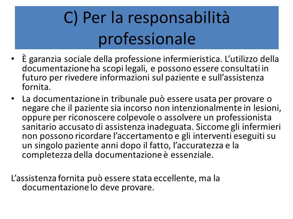 C) Per la responsabilità professionale