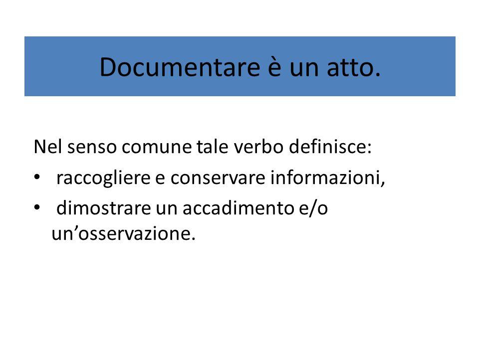 Documentare è un atto. Nel senso comune tale verbo definisce: