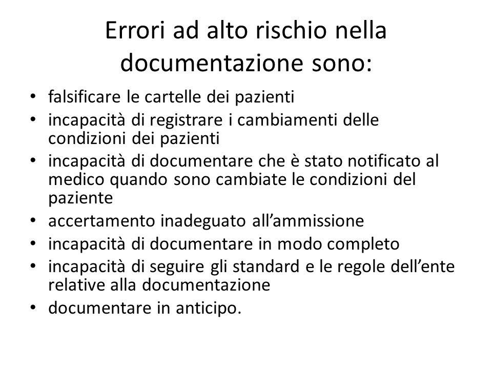 Errori ad alto rischio nella documentazione sono:
