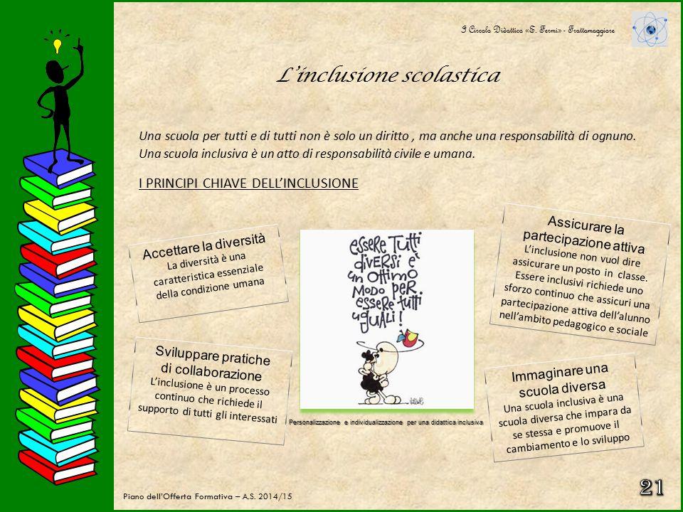 21 L'inclusione scolastica I PRINCIPI CHIAVE DELL'INCLUSIONE