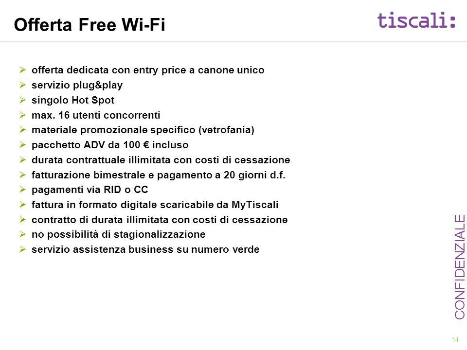 Offerta Free Wi-Fi offerta dedicata con entry price a canone unico