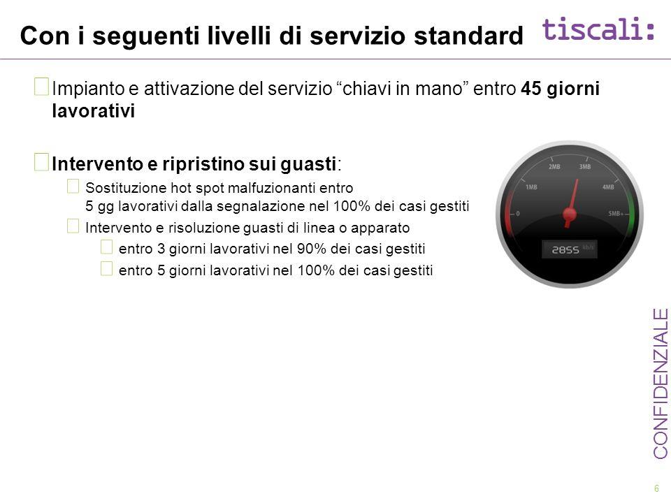 Con i seguenti livelli di servizio standard