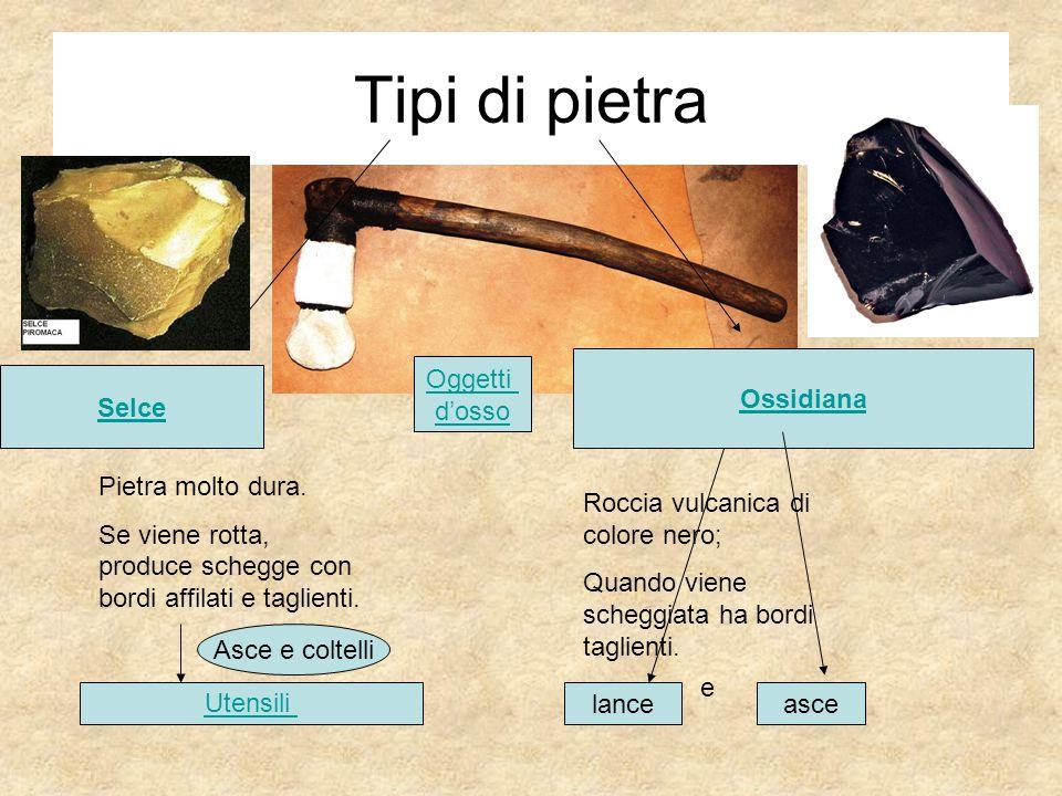 Tipi di pietra Ossidiana Oggetti d'osso Selce Pietra molto dura.