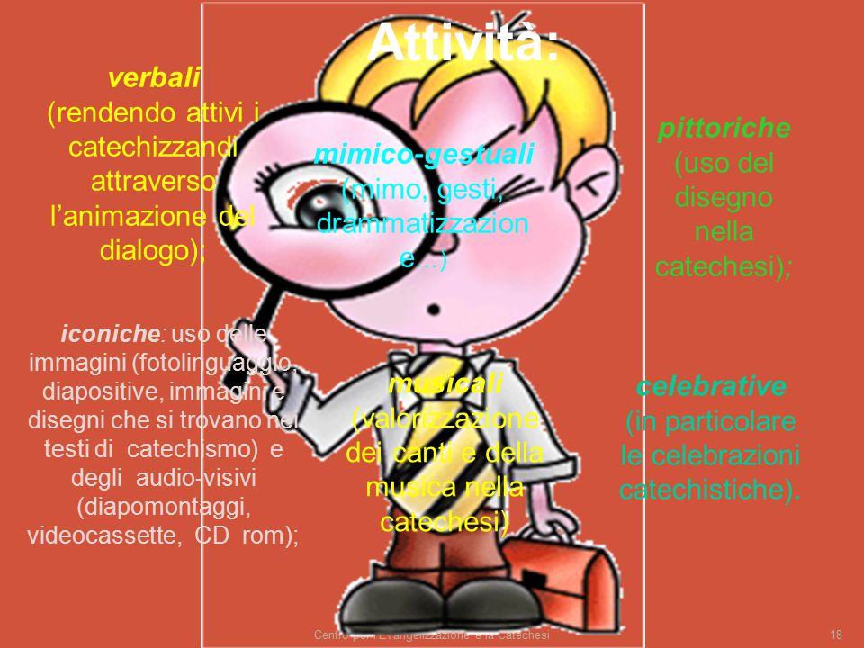 Attività: verbali (rendendo attivi i catechizzandi attraverso l'animazione del dialogo); pittoriche (uso del disegno nella catechesi);