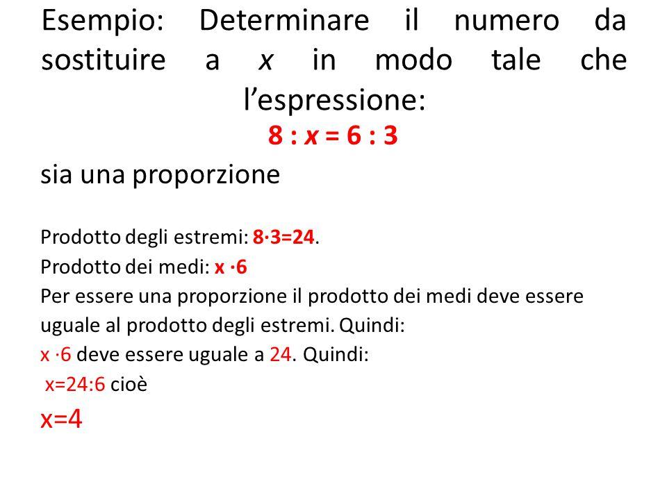Esempio: Determinare il numero da sostituire a x in modo tale che l'espressione: