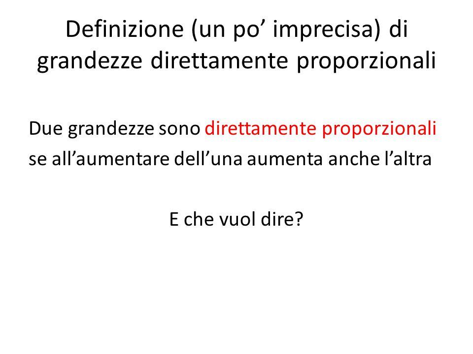 Definizione (un po' imprecisa) di grandezze direttamente proporzionali