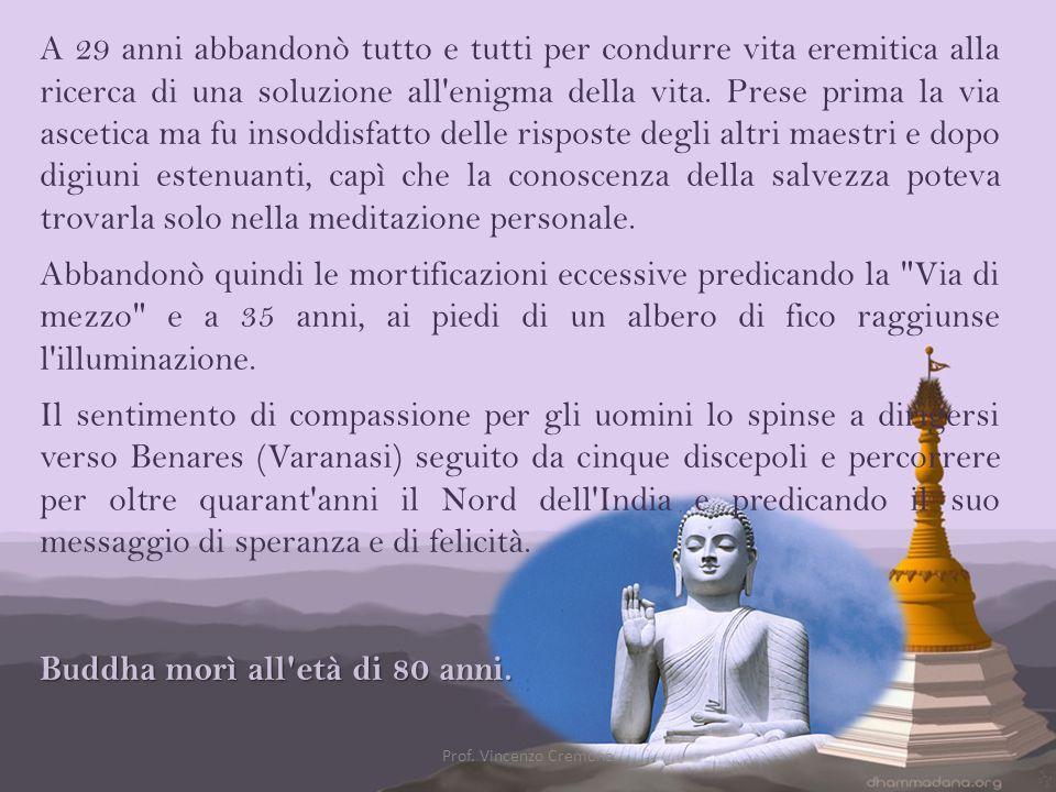 Buddha morì all età di 80 anni.