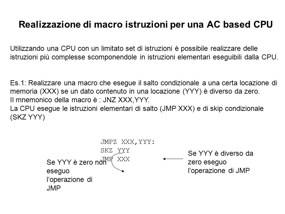 Realizzazione di macro istruzioni per una AC based CPU
