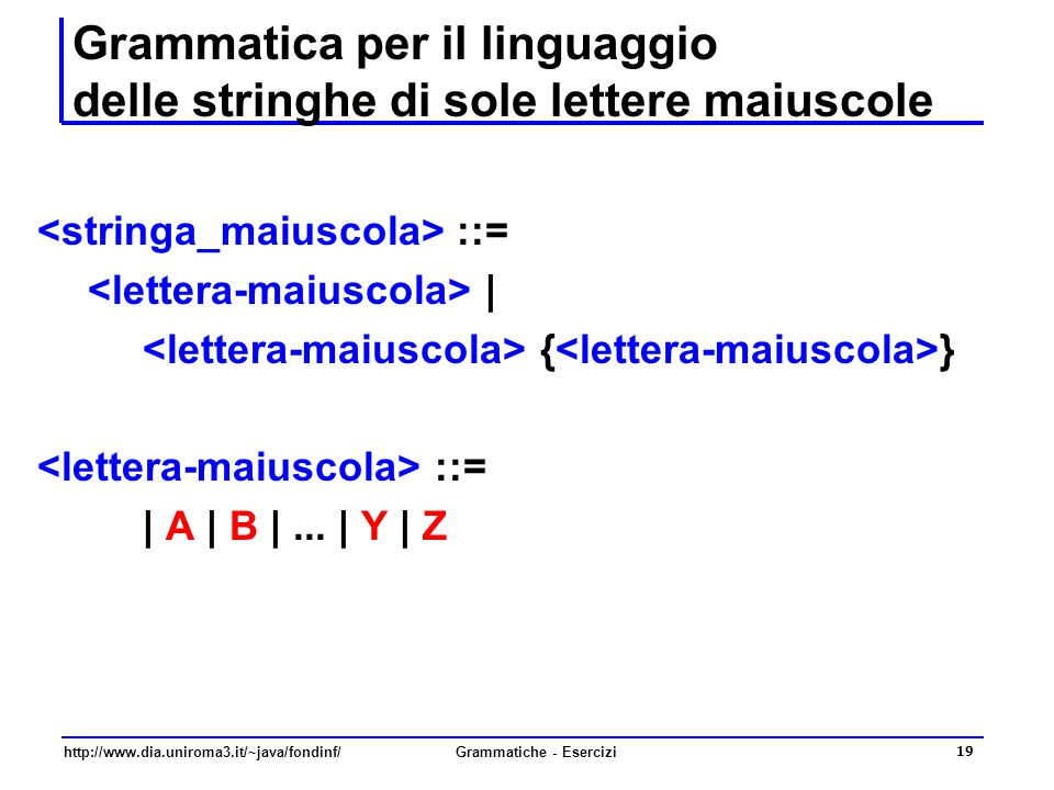 Grammatica per il linguaggio delle stringhe di sole lettere maiuscole