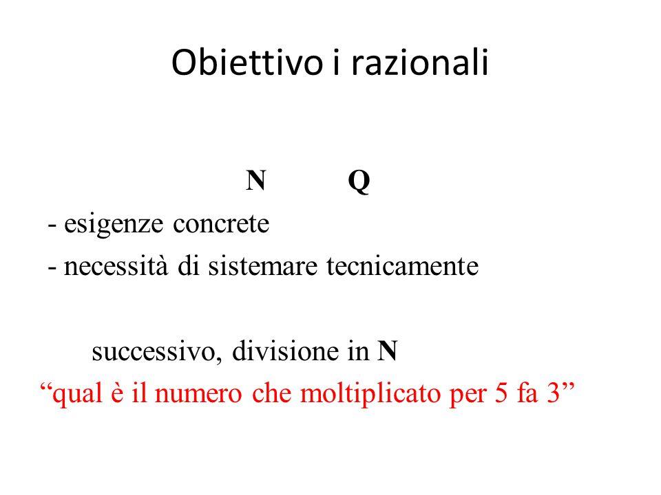 Obiettivo i razionali N Q - esigenze concrete