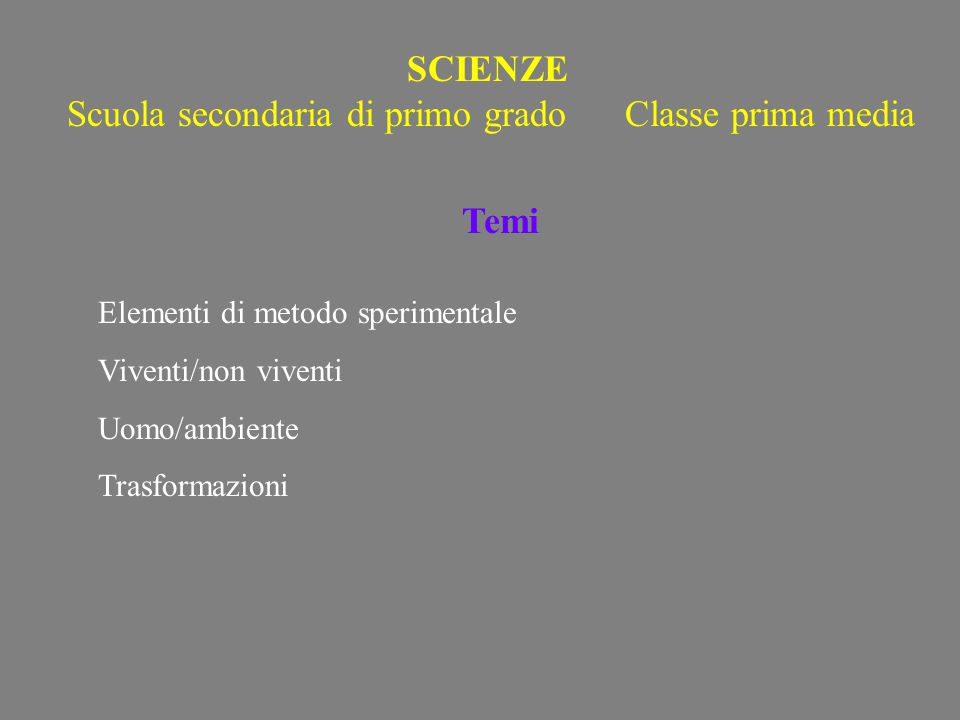 Scuola secondaria di primo grado Classe prima media