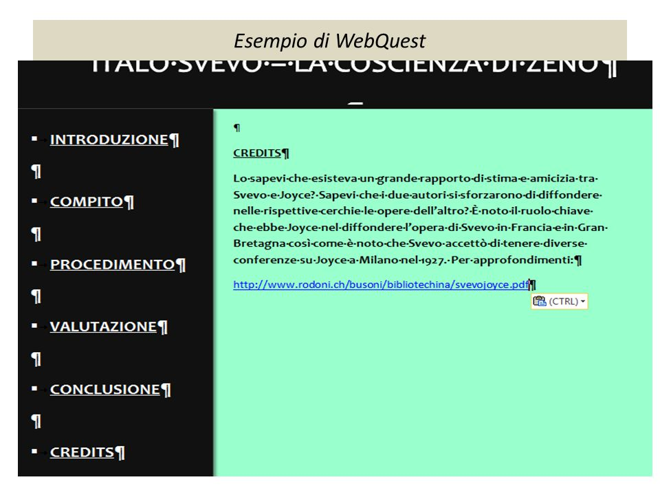 Esempio di WebQuest