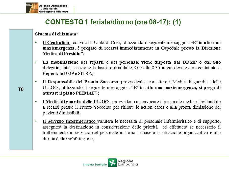 CONTESTO 1 feriale/diurno (ore 08-17): (1)