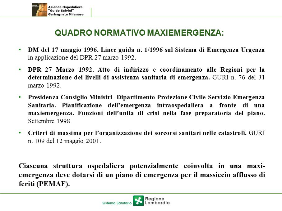 QUADRO NORMATIVO MAXIEMERGENZA: