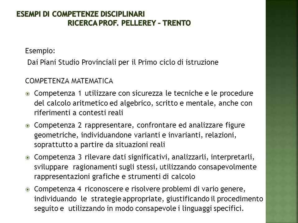 ESEMPI di COMPETENZE DISCIPLINARI Ricerca prof. Pellerey – Trento