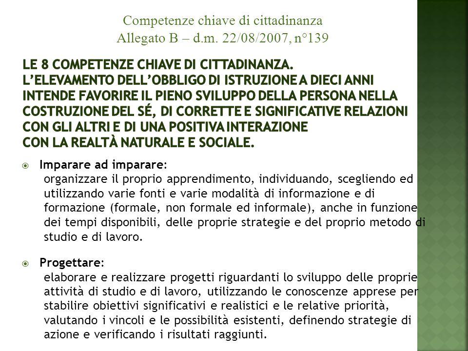 Competenze chiave di cittadinanza Allegato B – d.m. 22/08/2007, n°139