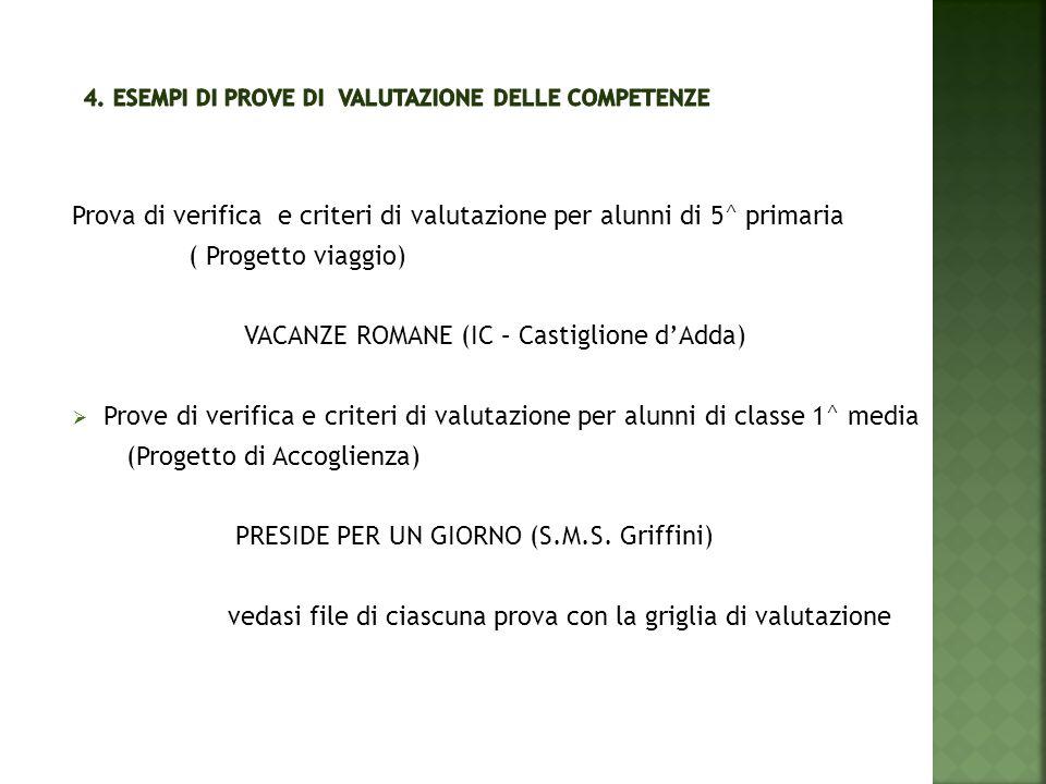 4. Esempi di prove di valutazione delle competenze
