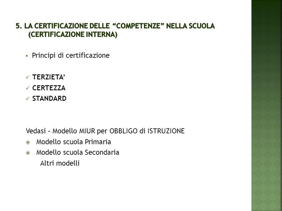 5. La certificazione delle COMPETENZE nella scuola (CERTIFICAZIONE INTERNA)