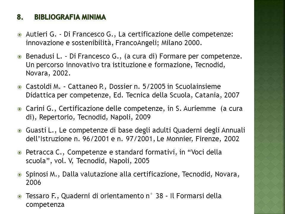 8. Bibliografia minima Autieri G. - Di Francesco G., La certificazione delle competenze: innovazione e sostenibilità, FrancoAngeli; Milano 2000.