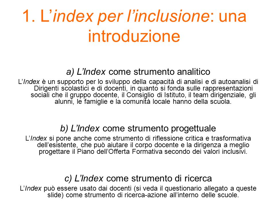 1. L'index per l'inclusione: una introduzione
