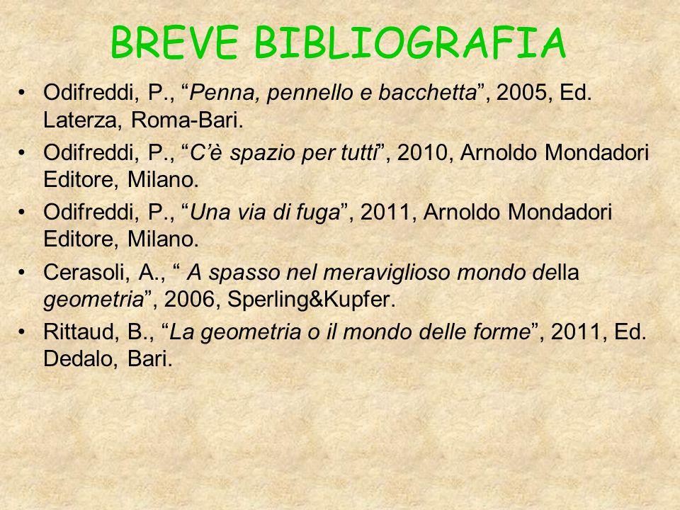 BREVE BIBLIOGRAFIA Odifreddi, P., Penna, pennello e bacchetta , 2005, Ed. Laterza, Roma-Bari.