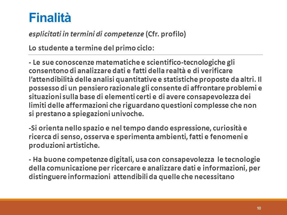 Finalità esplicitati in termini di competenze (Cfr. profilo)