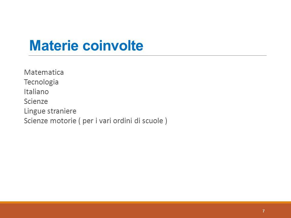 Materie coinvolte Matematica Tecnologia Italiano Scienze Lingue straniere Scienze motorie ( per i vari ordini di scuole )