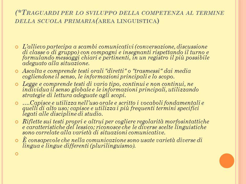 (*Traguardi per lo sviluppo della competenza al termine della scuola primaria(area linguistica)