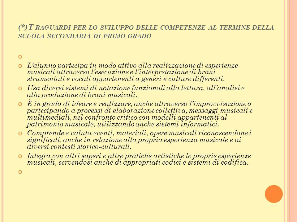 (*)T raguardi per lo sviluppo delle competenze al termine della scuola secondaria di primo grado