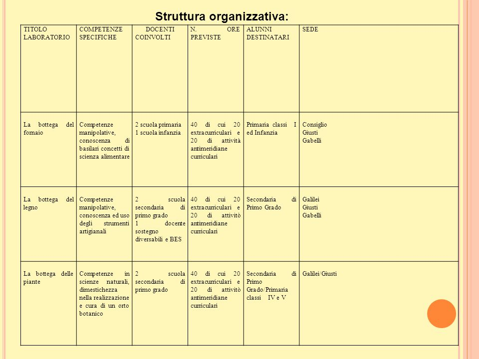 Struttura organizzativa: