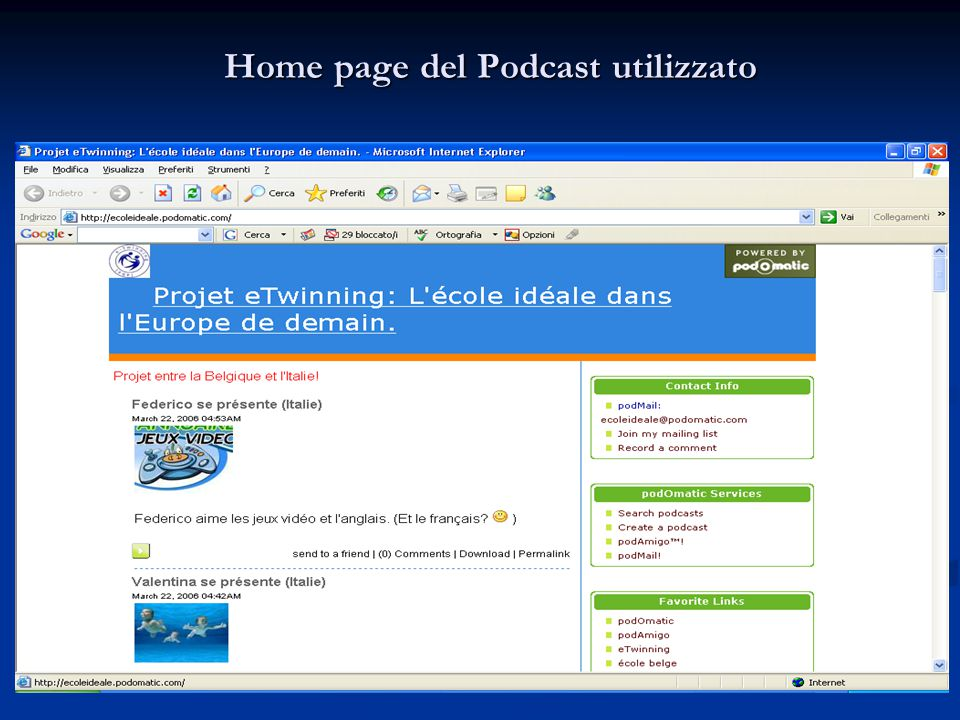 Home page del Podcast utilizzato