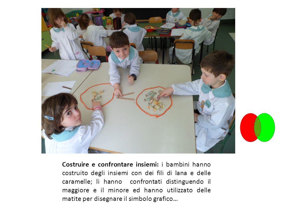 Costruire e confrontare insiemi: i bambini hanno costruito degli insiemi con dei fili di lana e delle caramelle; li hanno confrontati distinguendo il maggiore e il minore ed hanno utilizzato delle matite per disegnare il simbolo grafico…