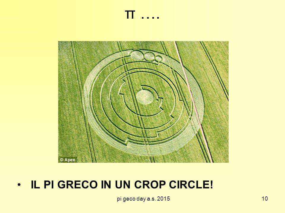 π …. IL PI GRECO IN UN CROP CIRCLE! pi geco day a.s. 2015