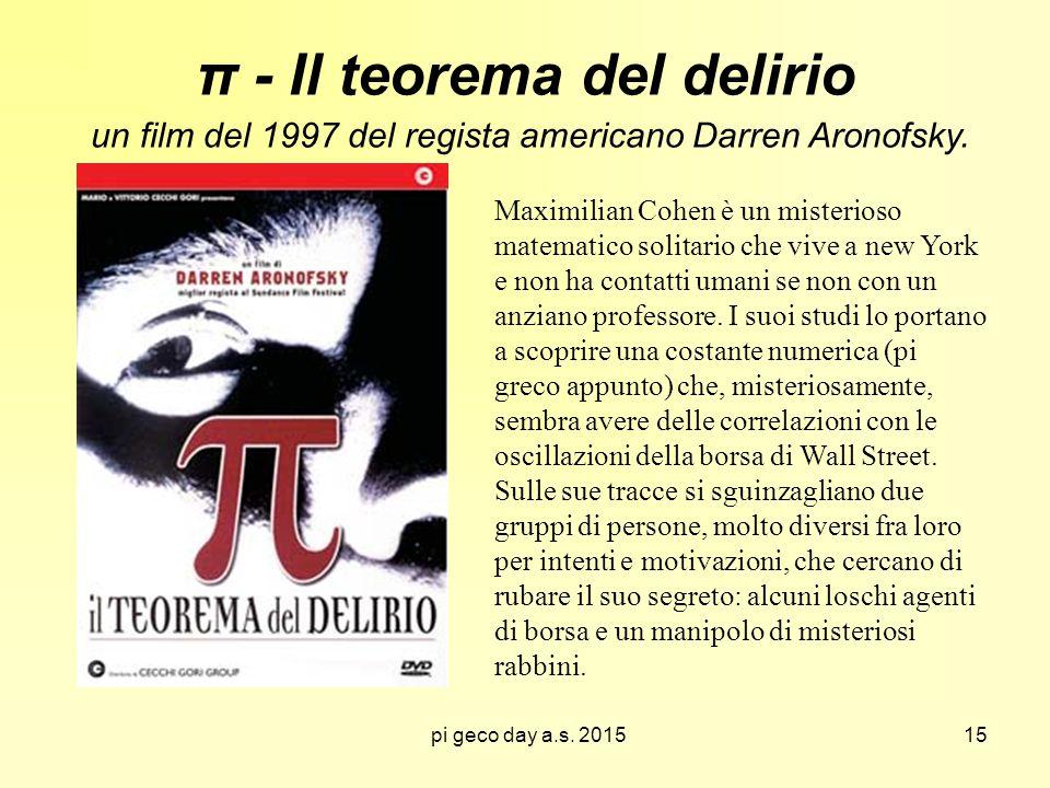 π - Il teorema del delirio un film del 1997 del regista americano Darren Aronofsky.