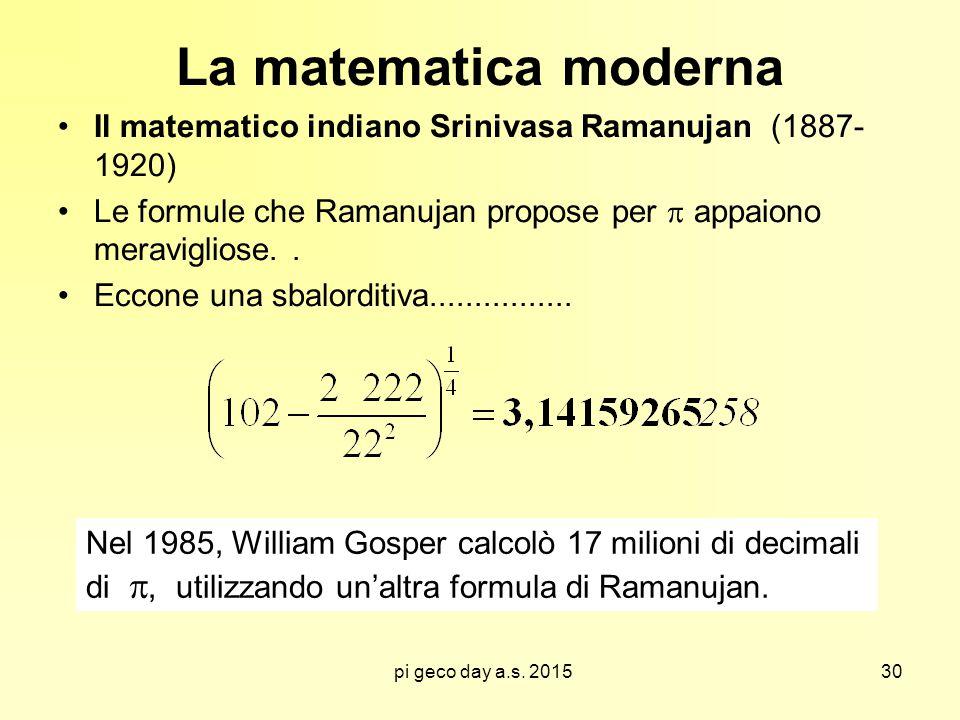La matematica moderna Il matematico indiano Srinivasa Ramanujan (1887- 1920) Le formule che Ramanujan propose per  appaiono meravigliose. .