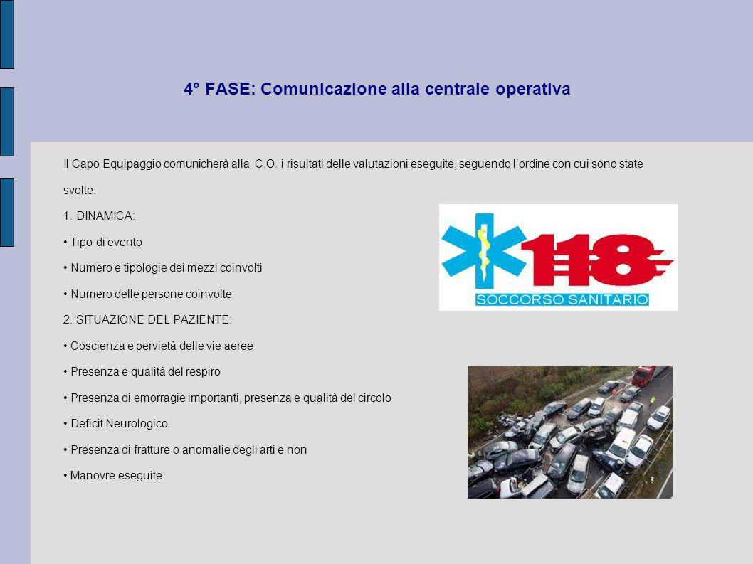 4° FASE: Comunicazione alla centrale operativa