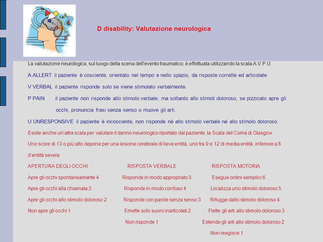 D disability: Valutazione neurologica
